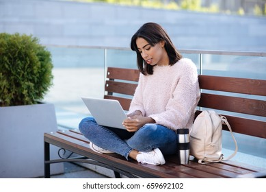 Charming ambitious lady working as a freelancer