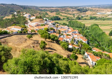 Charming architecture of hilly Aljezur, Algarve, Portugal