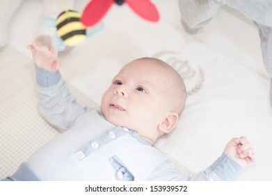 Charming baby playing with a toy lying on back