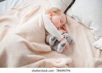 Charming baby sleeping on comfortable bed in embrace with teddy bear. She is holding her thumb in mouth