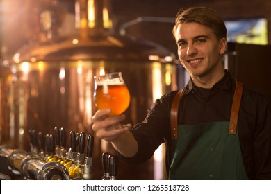 Charming bartender looking at camera, showing glass of delicious fresh beer and smiling. Handsome barman wearing in black shirt and apron. Brew bronzed kettle behind.