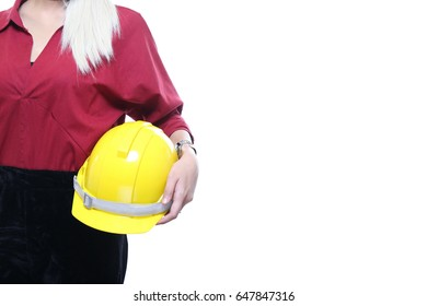 Charming beautiful tan skin Asian woman engineer  red shirt with yellow safety hat isolated on white background. Presenting engineering and business  under construction concept.