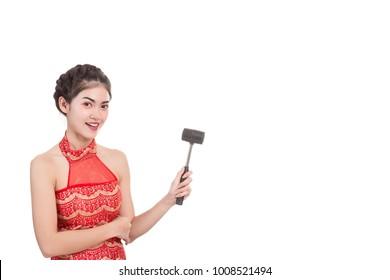 Cute latino teen hammering bare