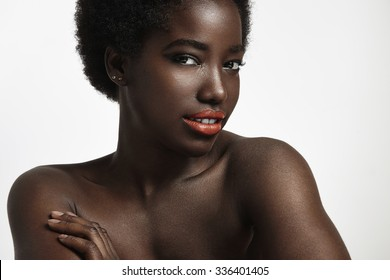 charming black woman with strobing skin