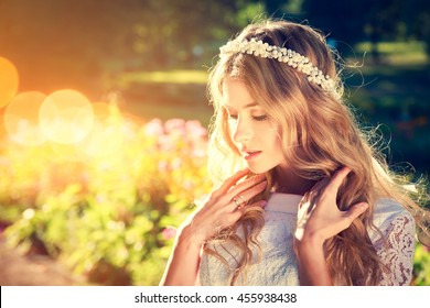Charming Bride on Warm Nature Background