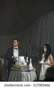 The charming brides stand near  wedding cake