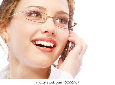 Charming business woman speaks on phone, isolated on white background.