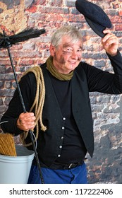 Charming chimney sweep greeting with his cap