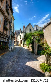 Charming, Cobbled Street in the Famous Historic Town of Chinon in the Loire Valley, France