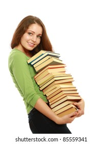 Charming college girl with pile of books isolated