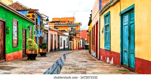 Charming colorful old streets of Los llanos de Aridane. La Palma island, Canary islands of Spain