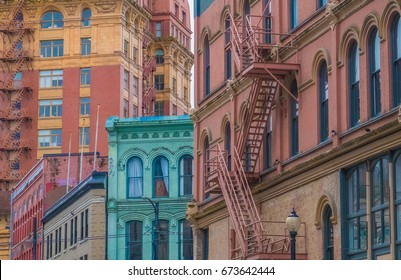 The charming and colorful victorian architecture of the Gastown, a national historic site in Vancouver, British Columbia, Canada