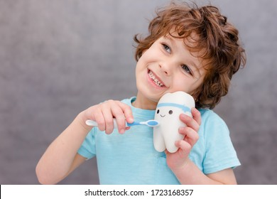 Charming curly boy smiles without tooth on gray background. The boy lost the first milk tooth. Healthy teeth concept, dental clinic.