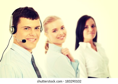 Charming customer service representative with headset