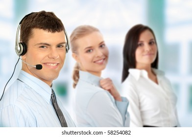 Charming customer service representative with headset on