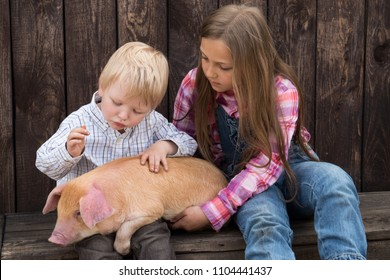 Charming farmer's children plays with piglet. Yellow boar is symbol of 2019.