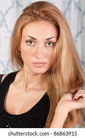 Charming fashion model with pretty brown hair