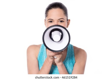 Charming fit lady holding a megaphone
