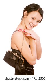 Charming girl in black dress with ladies' handbag, it is isolated on white background.
