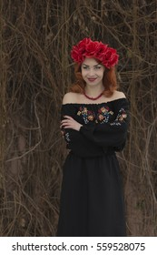 Charming girl in Russian national dress.