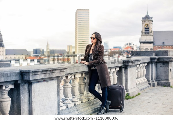 Charming girl travelling