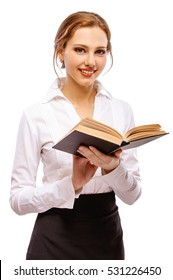 Charming girl-student with book, isolated on white background.