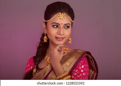 charming indian bride portrait, studio lighting
