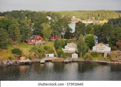 Charming islands near Stockholm, Sweden. Stockholm archipelago is largest archipelago in Sweden, and second-largest in Baltic Sea