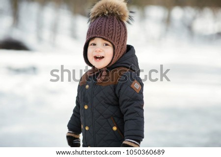 a71433215cec6 Charming Little Boy Funny Winter Hat Stock Photo (Edit Now ...