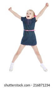 charming little girl jumping high lifted up his hands on a white background.Concept of childhood and family values.