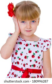 charming little girl with red rose in hair braided, half-length portrait. isolated on white background