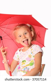 The charming little girl with red umbrella over the white background