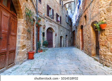 Charming little tight narrow streets of Volterra  town in Tuscany, Italy, Europe