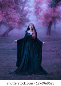 charming maiden in a blue brakhatny cloak in a wide belt, with pink hair in the forest as a sacrifice for the devil. the bloodthirsty dark druid conducts the rite of sacrifice, cold violet colors