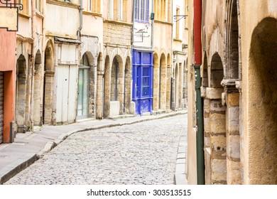 Charming, narrow street in Lyon, France .