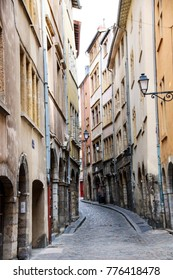 charming narrow street in the old center of Lyon, France