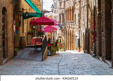 Charming narrow streets of Volterra town in Tuscany, Italy
