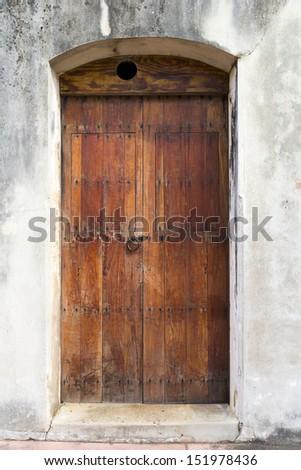 Charming Old Spanish Door With A Door Knocker In San Juan, Puerto Rico