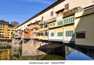 The charming Ponte Vecchio, or Old Bridge, in the Tuscan capital of Florence, Italy
