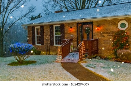 Charming ranch home in snow during Christmas-Snowflakes and lights-Holiday photography.