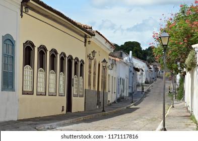 Charming street of Cidade de Goias, also known as Goias Velho in Brazil