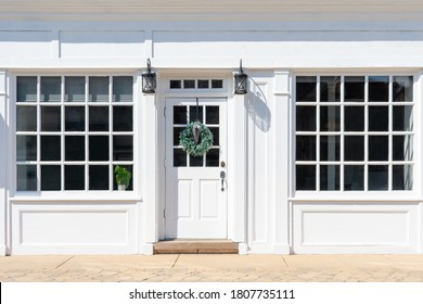 Charming and stylish entrance to small business in downtown shopping district