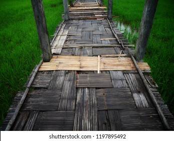 The charming of Su Tong Pae wooden bamboo bridge with green rice field, wooden floor