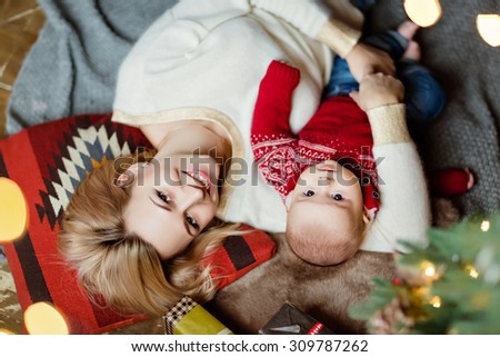 Charming Toddler Boy Red Sweater His Stock Photo Edit Now