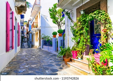 Charming traditional narrow streets of greek islands. Skopelos town. Northe Sporades of Greece