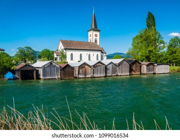 The charming village of Busskirch (Kirchdorf), Rapperswil-Jona, Sankt Gallen, Switzerland. Located in an idyllic lakeside shore of the Obersee (Upper Lake Zurich)