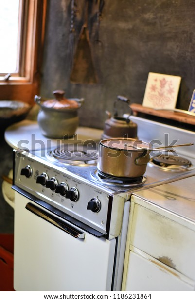 Charming Vintage Kitchen Antique Oven Stove Stock Photo ...