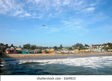 Charming waterfront of Capitola CA from the wharf. Capitola is small town just east of Santa Cruz on Monterrey Bay.