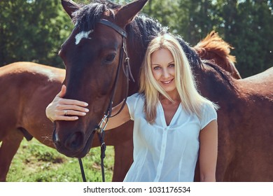 A charming woman standing with a brown horse.