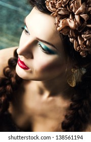 Charming young lady with colored makeup